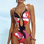 Cotton Blends Push Up Halter One Pieces Swimmer