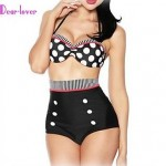 Push-up/Wireless/Padless Bra High Rise/Floral/Dot/Bandage Halter Tankinis (Cotton Blends/Polyester/Spandex)