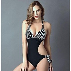Push Up Wireless Color Block Animal Ruffle Bandeau One Pieces Polyester