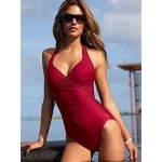2019 Sexy Backless Underwire Solid Color Swimsuit Uk For Women Push Up Bikini Swimwear Uk For Women Plus Size XL XXL For Women(with skrit)