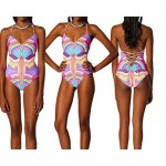 Nylon/Polyester Wireless Floral Halter One-pieces Swimwear Uk For Women