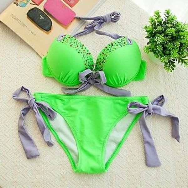 Fashion Sexy Lime Green Split Beading Push Up Bikini Set Swimwear Uk For Women Swimsuit Uk For Women Beachwear