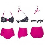 Polyester Polka Dot Sexy Bikinis Swimwear Uk For Women with Pad And Decorative Button