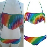 Push-up Color Block/Bandage Halter Bikinis Tassels Rainbow Bikinis Two Piece Bathing Suit (Polyester/Spandex)