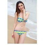 Foshion Sexy Slim Bandeau Triangle The Circle Patterned Two Piece Bikini Swimsuit Uk For Women