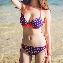 Sexy Woman Halter Bow Umbrella Print Bathing Suit