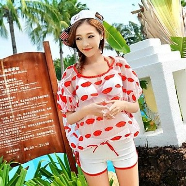 Women Lipstick Kiss Print Push Up Bikini Set Sarong Cover Up Swimsuit Uk For Women