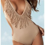 Polyester Tasselled Wireless One-Piece Sexy Swimwear Uk For Women With Pad