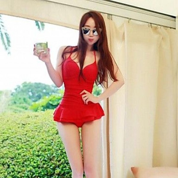 Back Crossover Design Piece Skirt Sexy Red Swimsuit Uk For Women