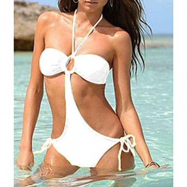 Halter Pure Color One-piece Swimwear Uk For Women