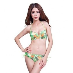 Push Up Plus Size Bikini Floral Printed