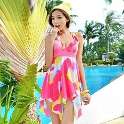 Women Floral Sheer V Neck Halter Asymmetrical Tankini Swimsuit Uk For Women