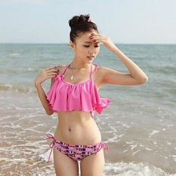 New Graphic Ruffle Padded Bandeau Bikini Set Swimsuit Uk For Women Bathing Suit