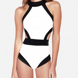 Wireless Color Block Halter One Pieces