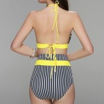 Sexy Bandeay Bikinis Two Piece Chest Bowknot Adornment High Waist Panta Design