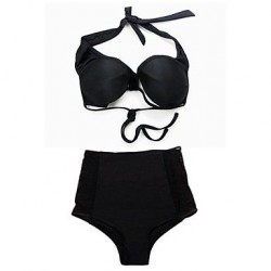 Black Mesh Cutout High-waisted Bikini Swimsuit Uk For Women