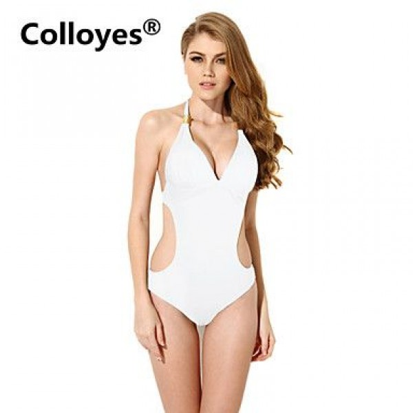 Colloyes Red One-piece with Fringe Side Cut-outs Adjustable Halter Straps Bikinis Swimwear Uk For Women (White)