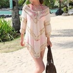 Fashion Sexy Beige Cotton Hollow-out Kintwear Long Sleeve Sun Prevention Beach Cover-up