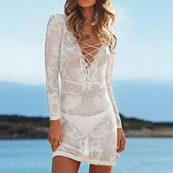 Lace/Polyester Fashion Sexy Deep V Hook Flower Long Sleeve Cover-Ups