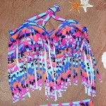 Big Size Polyester Tassels Multi-Piece Swimwear Uk For Women with Pad And Wire