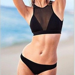 Sexy Black Mesh Perspective Hot Bikini Swimwear Uk For Women Set
