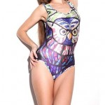 Elonbo Round Collar Color the Owl Style Digital Painting Sexy Swimsuit Uk For Women One-Piece Swimwear Uk For Women