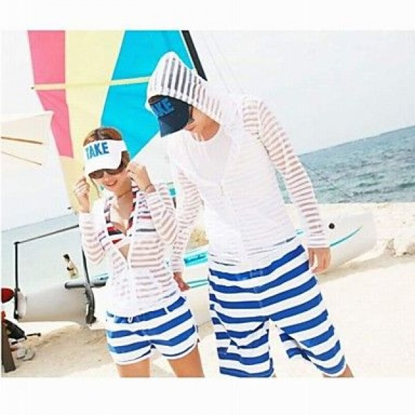 Fashionable Blue and White Stripe Lovers Beach Pants (Men and Two Sets)