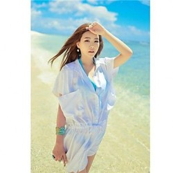 Stylish Solid Chiffon Beach Sun Prevention Long Design Blouse