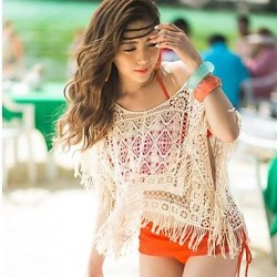 Fringed Beach Cover Knit Sweater