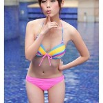 Popular Rainbow Colorful Stripe Cute and Sexy Nylon and Spandex Three-Pieces Bikini