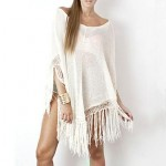 Fashion Knitting Cotton Tassels Swimwer Bikini Beach Cover Up Sun Prevention Cloak