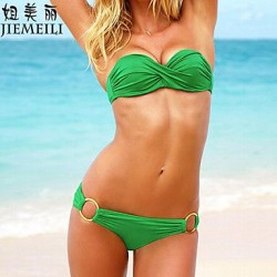 JIEMEILI Push Up Solid Bandeau Bikinis Cotton Blends