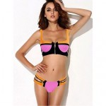 zipper Bra Style Push-up Swimwear Uk For Women Color Block Bandeau Tankinis (Polyester/Spandex)