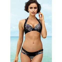 Cheetah Rivet Halter Push Up Bikini