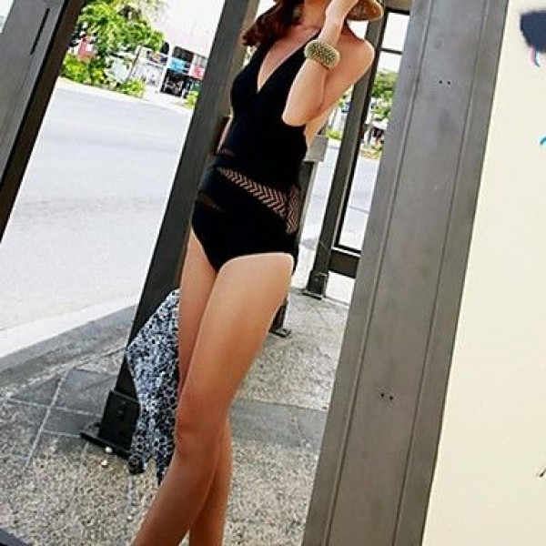 Siamese Triangle Mesh Sexy Black Swimsuit Uk For Women