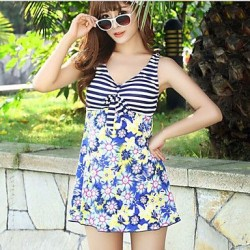 Fashion Floral Print Gather Swimwear Uk For Women More Colors