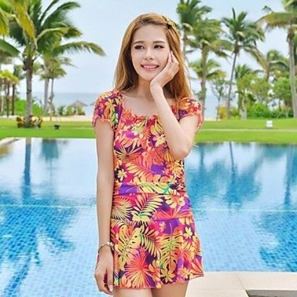 Leaf Pattern Printed Skirt Piece Swimsuit Uk For Women