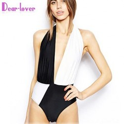 Push Up Wireless Padded Bras High Rise Color Block Bandage Halter One Pieces Polyester Spandex