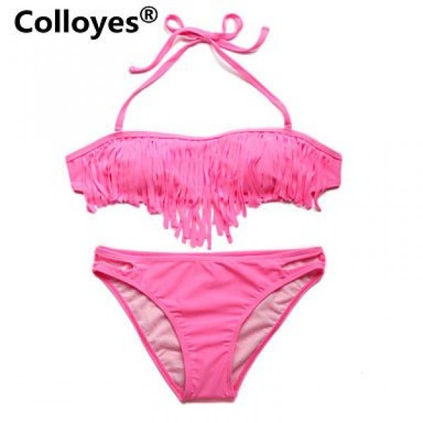 Colloyes Women Pink Bandeau Top with Fringe Detail at Bust Removable Halter Straps Bikinis Swimwear Uk For Women