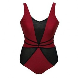 Red Black Mesh Cutout Teddy Swimwear Uk For Women