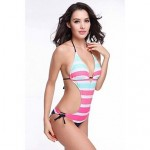 Free Shipping Hot Wholesale Striped Removable Push Up Padding 2014 Strappy Female One Piece Swimsuit Uk For Women S.M.L.XL
