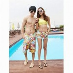 Fashionable Sun Printing Stripe Lovers Beach Pants (Men and Women Two Sets)