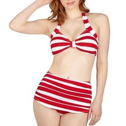 Vintage High Waist Stripe Beach Swimwear Uk For Women Bikini Set
