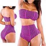 Color Striped waist Sexy Swimsuit Uk For Women With a Chest Pad and Steel Ring 2 Color to Choose
