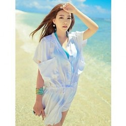 Fashion Solid Chiffon Sun Prevention Shirt Swimwear Uk For Women Swimsuit Uk For Women Bikini Beach Cover Up