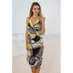 Fashion Sexy Yellow Chain Print Deep V Swimwear Uk For Women Swimsuit Uk For Women Beachdress Bikini Cover Up