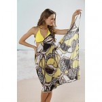 Fashion Sexy Yellow Chain Print Deep-v Swimwear Uk For Women Swimsuit Uk For Women Beachdress Bikini Cover-up