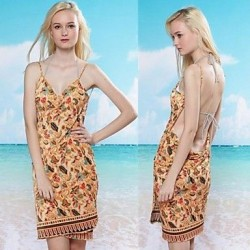 Fashion Sexy Multi Print Backless Deep V Swimwear Uk For Women Swimsuit Uk For Women Beach Dress Bikini Cover Up
