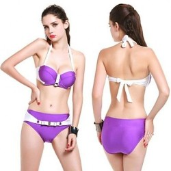 New Design Fashion Sexy Shiny Fabrics Two Piece Bikini Bandeau Charm