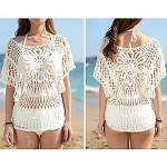 Fashion Sexy White Hollow-out Kintwear Sun Prevention Beach Cover-up
